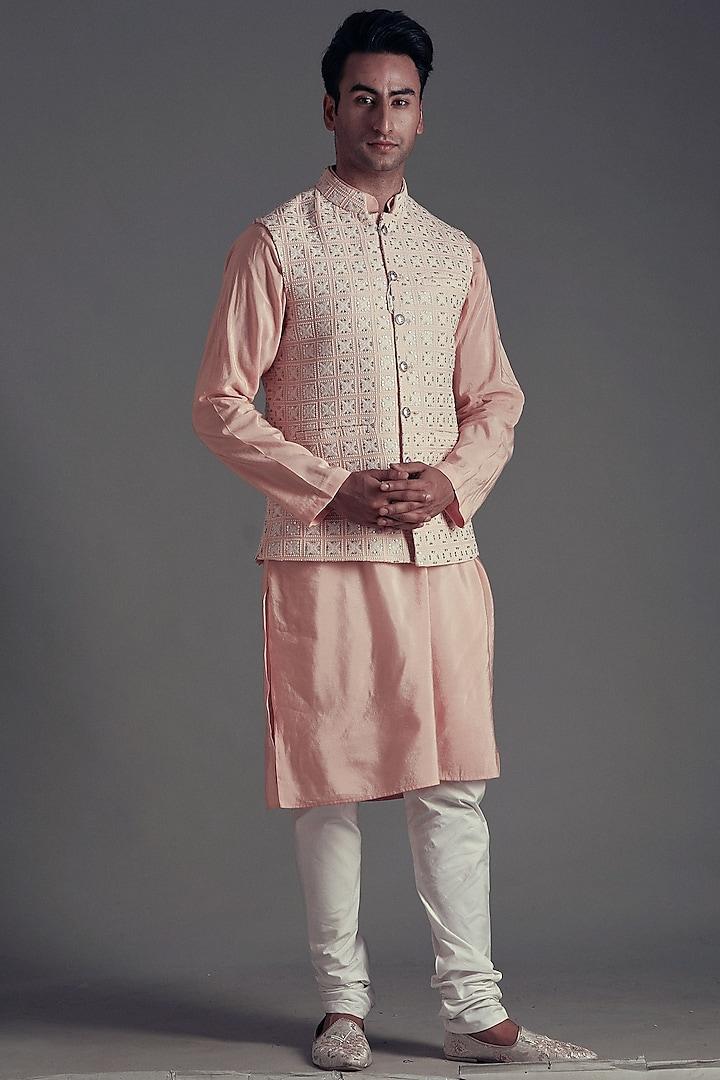 Powder Pink Kurta Set With Jacket by Soniya G