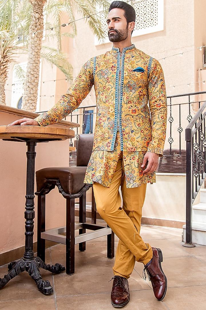 Mustard Printed Kurta Set With Nehru Jacket by Soniya G