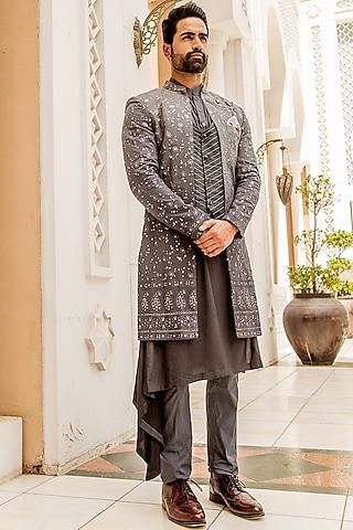 Grey Kurta Set With Ombre Long Jacket by Soniya G