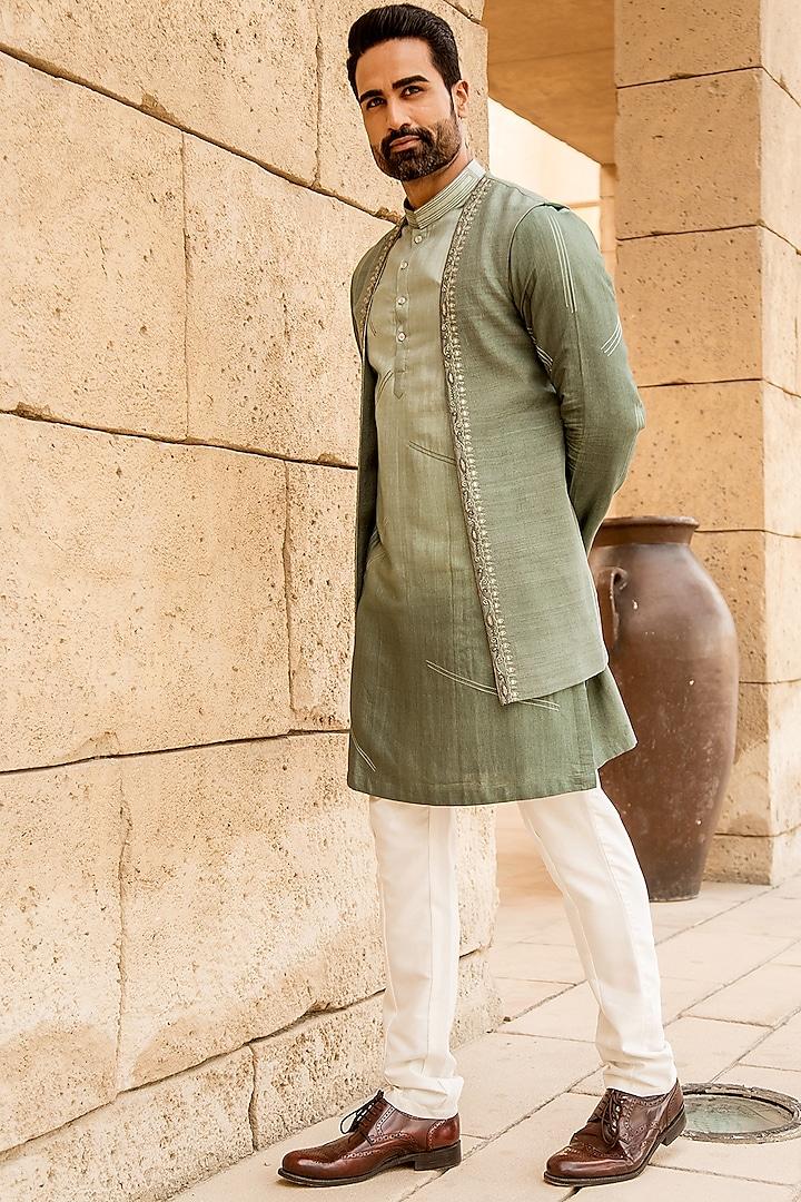 Pastel Pista Kurta Set With Embroidered Open Jacket by Soniya G