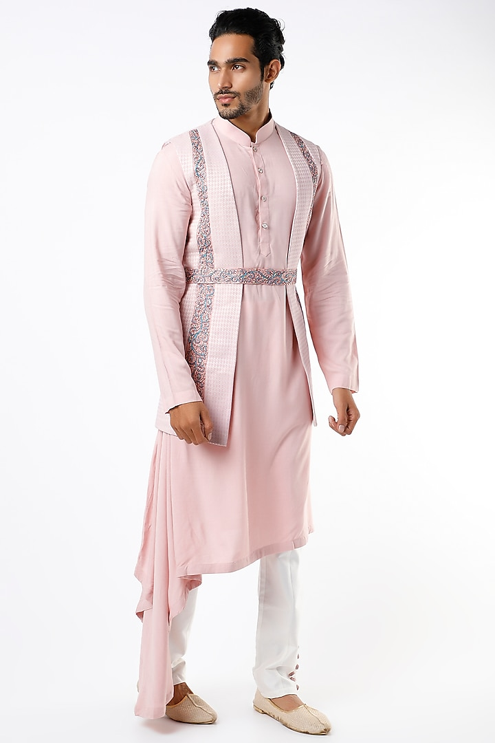 Blush Pink Silk Kurta Set With Embroidered Jacket by Soniya G