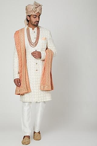 Off White Lucknowi Sherwani Set by Soniya G