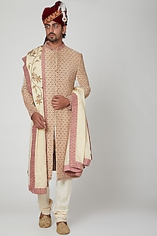 Off White Zardosi Sherwani Set by Soniya G