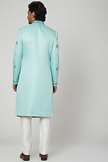 Duckegg Blue Zardosi Sherwani Set by Soniya G
