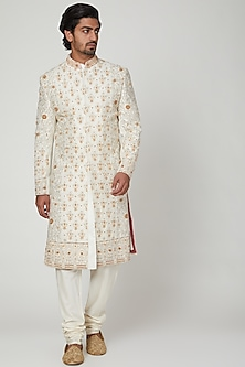 Cream Embroidered Sherwani Set by Soniya G
