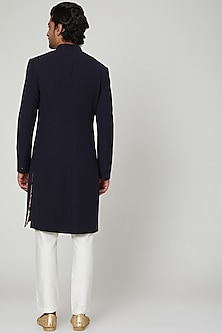 Midnight Blue Angrakha Sherwani Set With Stole by Soniya G