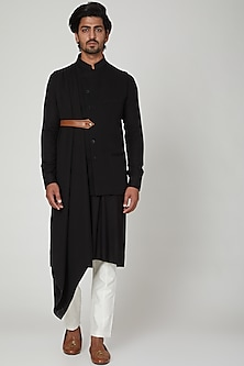 BLack Kurta Set With Jacket by Soniya G