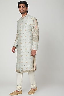 Duckegg Blue Embroidered Sherwani Set by Soniya G