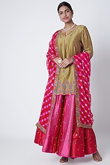 Red & Pink Embroidered Sharara Set by Sunira