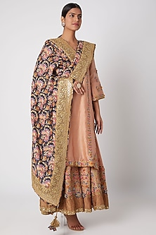 Peach Floral Embroidered Sharara Set by Sunira-READY TO SHIP