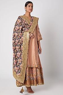 Peach Floral Embroidered Sharara Set by Sunira