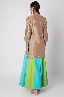 Sky Blue & Mint Green Embroidered Sharara Set by Sunira