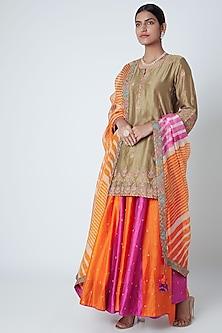 Orange & Purple Embroidered Sharara Set by Sunira