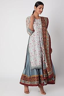 Sky Blue Printed & Embroidered Sharara Set by Sunira