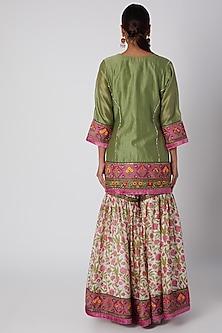 Olive Green Embroidered Kurta Set by Sunira