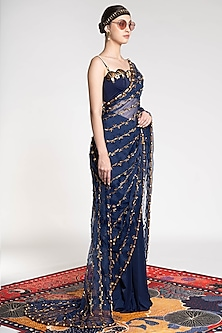 Sapphire Blue Embroidered & Printed Saree by Shivan & Narresh