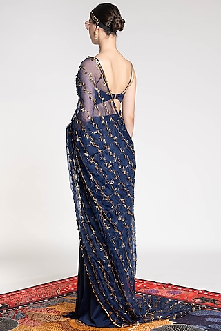 Sapphire Blue Embroidered & Printed Saree by Shivan & Narresh