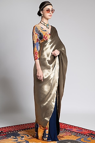 Multi Colored Printed Saree Set by Shivan & Narresh