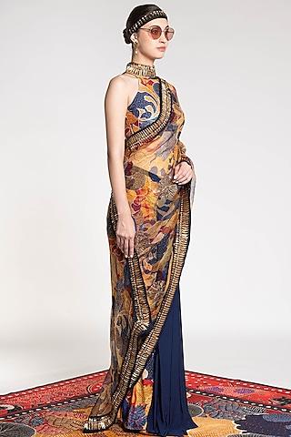 Multi Colored Printed & Embroidered Saree by Shivan & Narresh