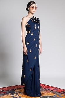 Sapphire Blue Printed & Embroidered Saree Set by Shivan & Narresh