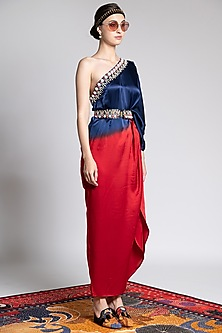 Sapphire Blue & Red Ombre Embroidered Kaftan by Shivan & Narresh