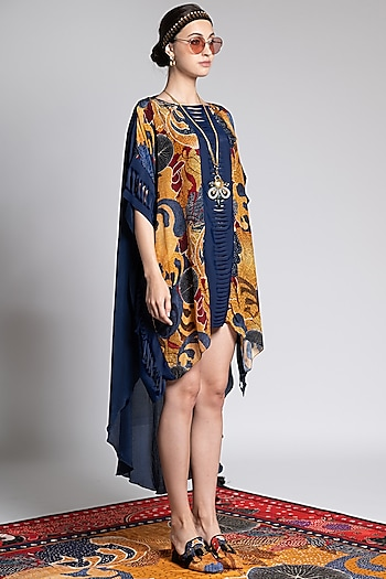 Multi Colored Fagun Printed Kaftan by Shivan & Narresh
