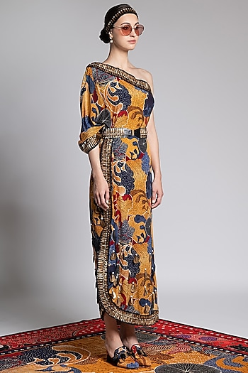Multi Colored Printed & Embroidered Kaftan by Shivan & Narresh