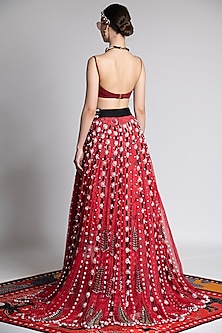Red Printed & Embroidered Lehenga With Blouse by Shivan & Narresh