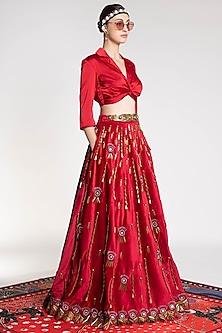 Red Printed & Embroidered Lehenga by Shivan & Narresh