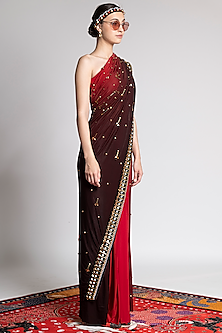 Red Ombre Printed & Embroidered Saree Set by Shivan & Narresh