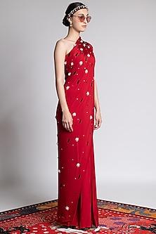 Red Printed & Embroidered Saree Set by Shivan & Narresh