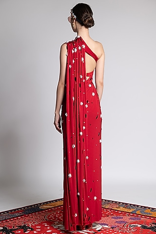 Red Printed & Embroidered Saree Set by Shivan & Narresh