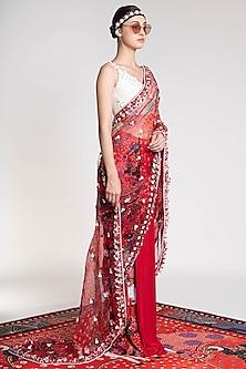 Red Printed & Embroidered Saree by Shivan & Narresh