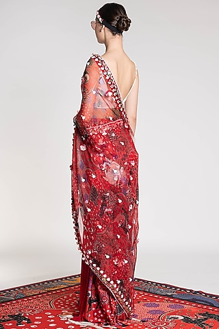 Red Printed & Embroidered Saree by Shivan & Narresh