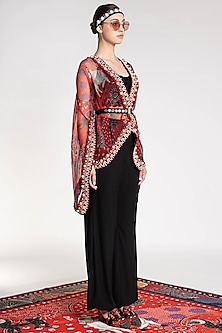 Red Printed & Embroidered Cape by Shivan & Narresh