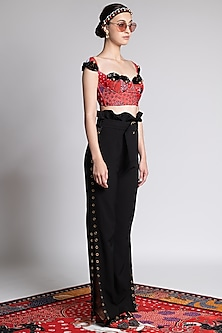 Red Printed & Embroidered Blouse by Shivan & Narresh