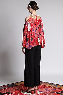 Red Printed & Embroidered Top by Shivan & Narresh