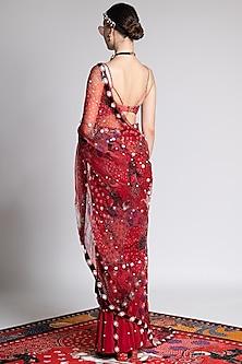 Red Printed & Embroidered Sheer Saree by Shivan & Narresh