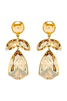 Gold Finish Hibiscus Earrings With Swarovski Crystals by Shivan & Narresh X Confluence