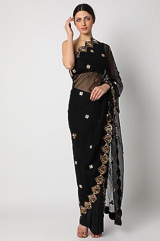 Black Skeinwork Pre-Stitched Saree by Shivan & Narresh