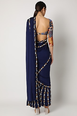 Navy Blue Pant Saree Set by Shivan & Narresh