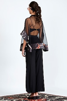 Black Printed & Embroidered Sheer Cape by Shivan & Narresh