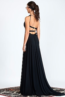 Black Printed One Shoulder Evening Gown by Shivan & Narresh
