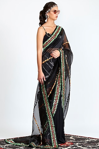 Black Printed & Embroidered Sheer Pre-Stitched Saree by Shivan & Narresh