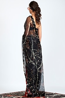 Black Printed Embroidered Sheer Pre-Stitched Saree by Shivan & Narresh