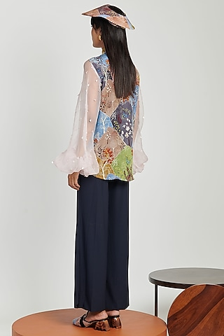 Multi Colored Printed Top With Sheer Sleeves by Shivan & Narresh