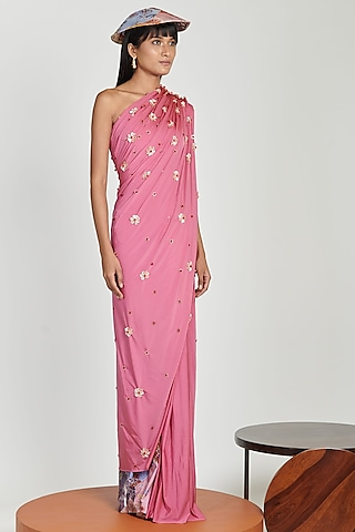Pink Saree Set With Skeinwork by Shivan & Narresh