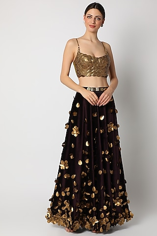 Gold Printed & Embroidered Bustier by Shivan & Narresh