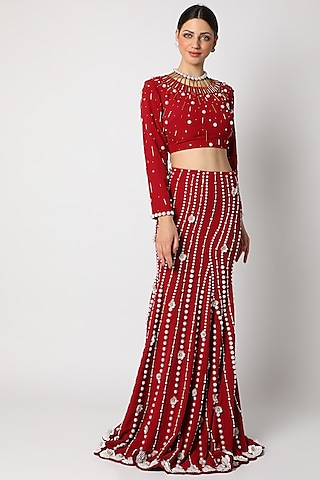 Red Blouse With Metallic Trims by Shivan & Narresh