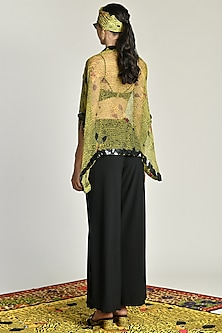 Yellow Embroidered & Printed Sheer Cape by Shivan & Narresh